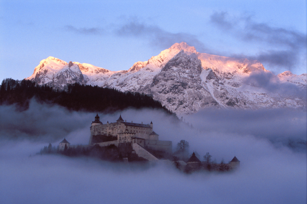 Image of a castle with low clouds